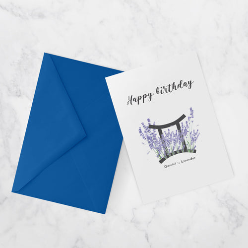 BIRTHDAY CARDS |  ZODIAC FLOWERS | Gemini :: Lavender