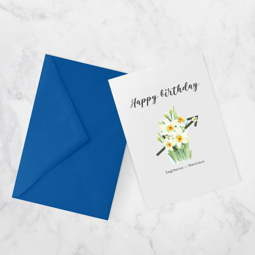 BIRTHDAY CARDS |  ZODIAC FLOWERS | Sagittarius :: Narcissus