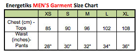 Energetiks Mens Garment Sizing