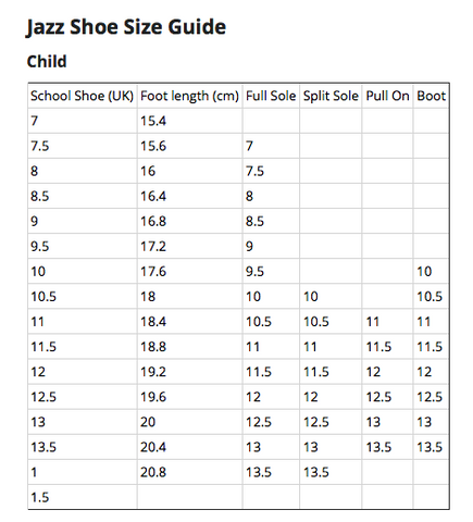 Shoe Size Guides