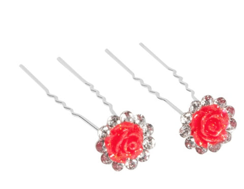 H027 - Glitter Flower and Rhinestone Hairpins