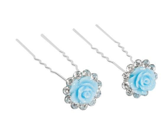 Accessory - H027 - Glitter Flower And Rhinestone Hairpins