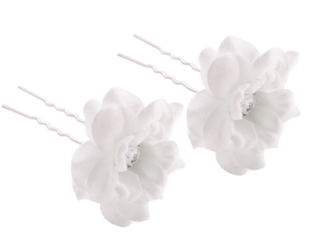 H032 - Fabric Flower Hairpins