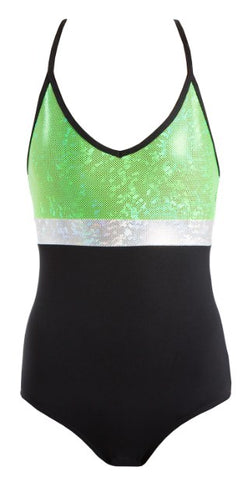 GCL104 - Shattered Glass Spliced Triple Strap Leotard