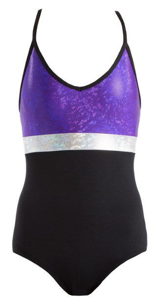 Leotard - GCL104 - Shattered Glass Spliced Triple Strap Leotard