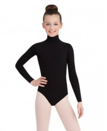 Leotard - TB123C - Girls Turtleneck Long Sleeve Leotard With Snaps
