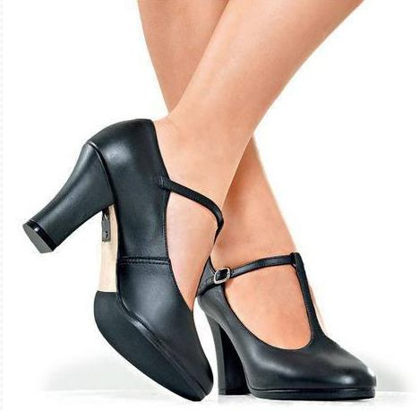 "CH103 - So Danca 3"" Leather T-Strap Chorus Heel"