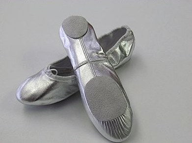 Shoe - Salvios Split Sole Silver Ballet Shoes