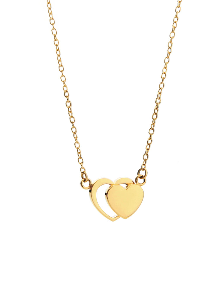 Double Heart Necklace - Gold