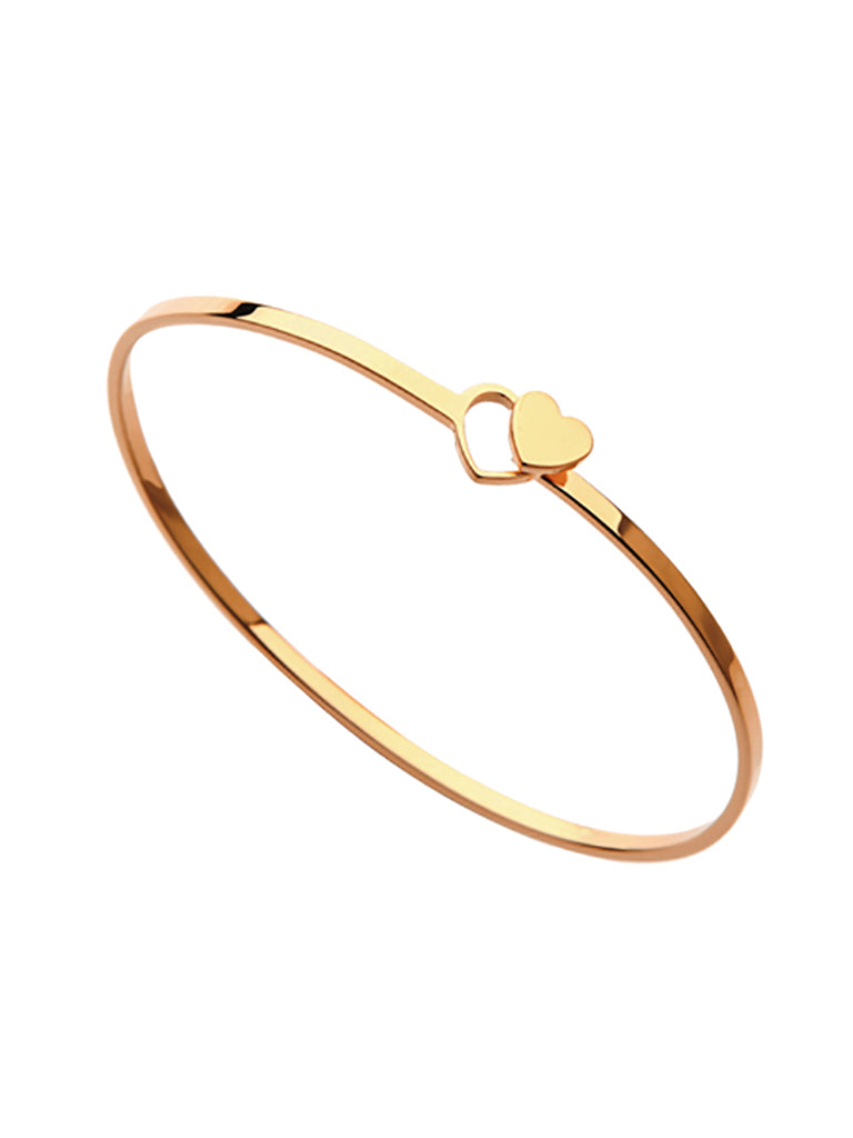 Double Heart Bangle - Gold