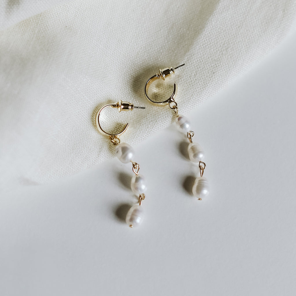 Triple Pearl Drop Earrings