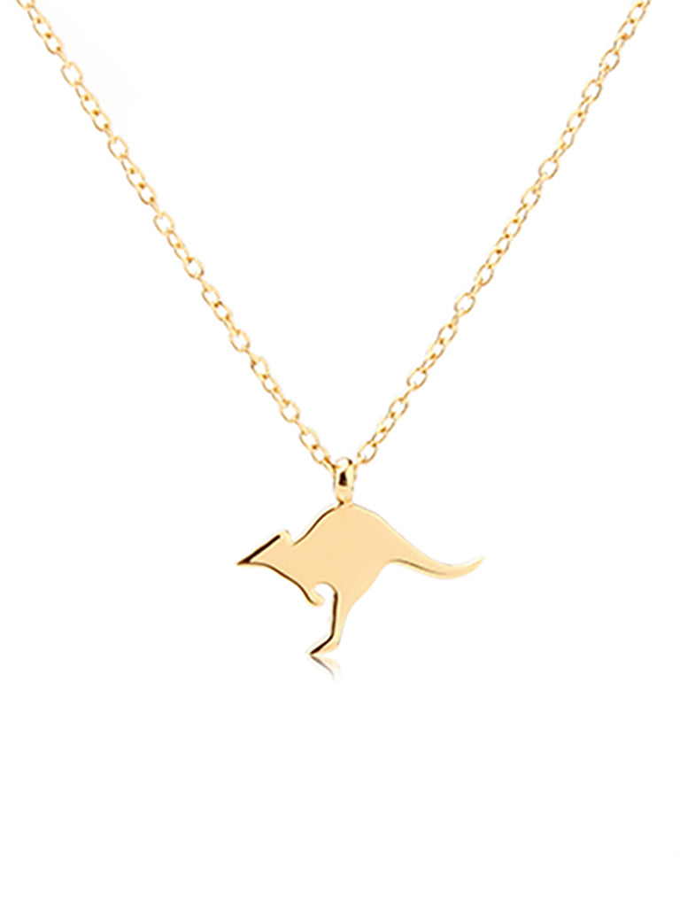 Kangaroo Charm Necklace - Gold