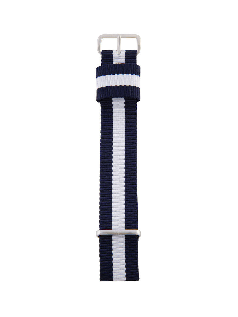 Nato Strap (Blue/White) - Silver Buckle