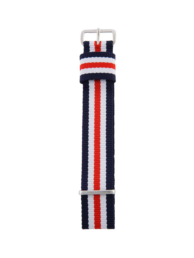 Nato Strap (Blue/Red/White) - Silver Buckle