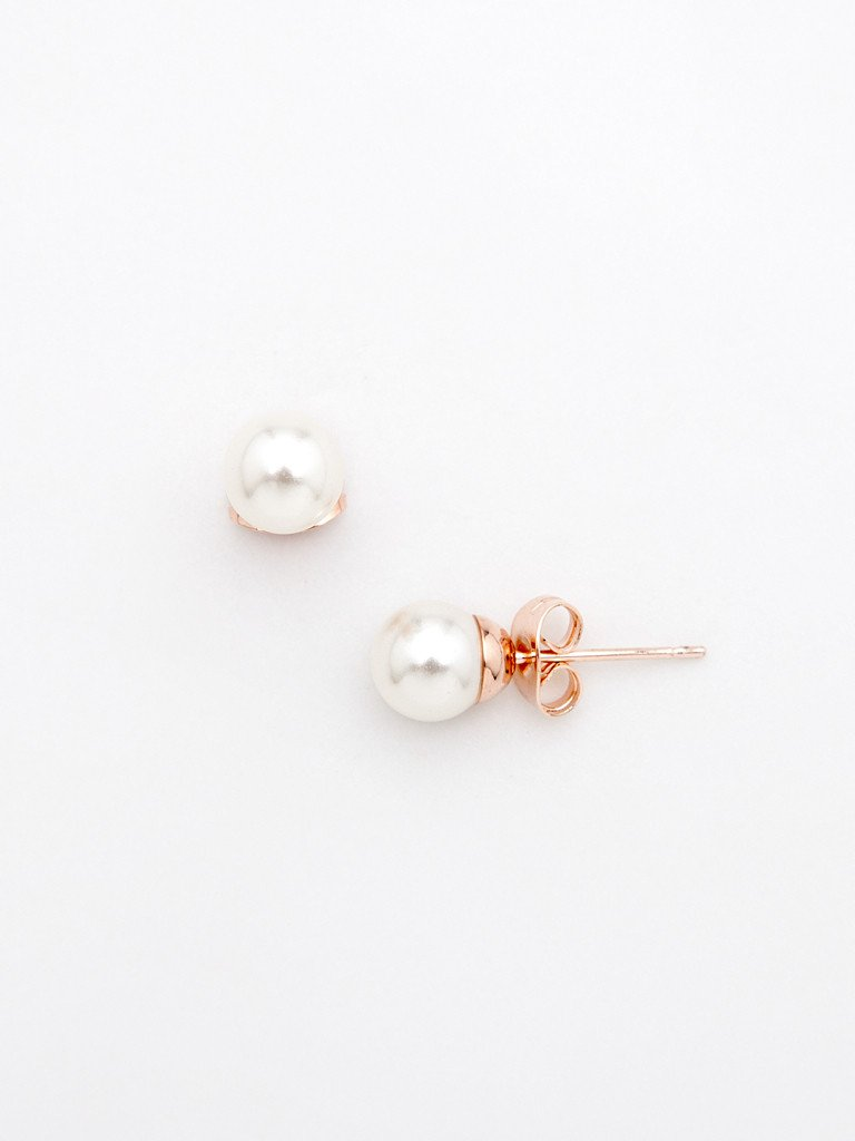Polished Pearl Stud Earring