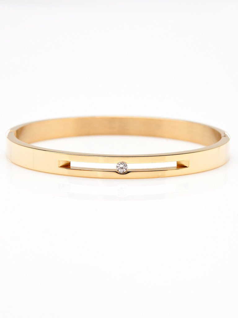 Floating Crystal Bangle - Gold
