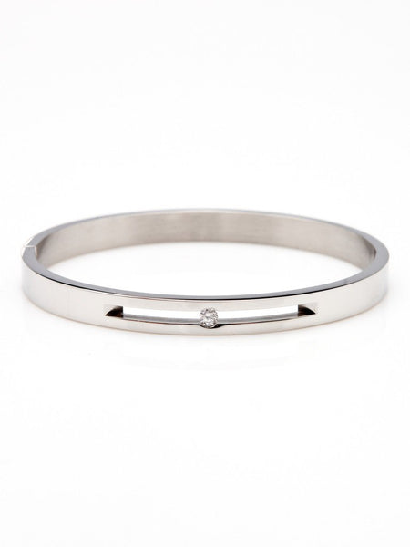 Floating Crystal Bangle - Silver