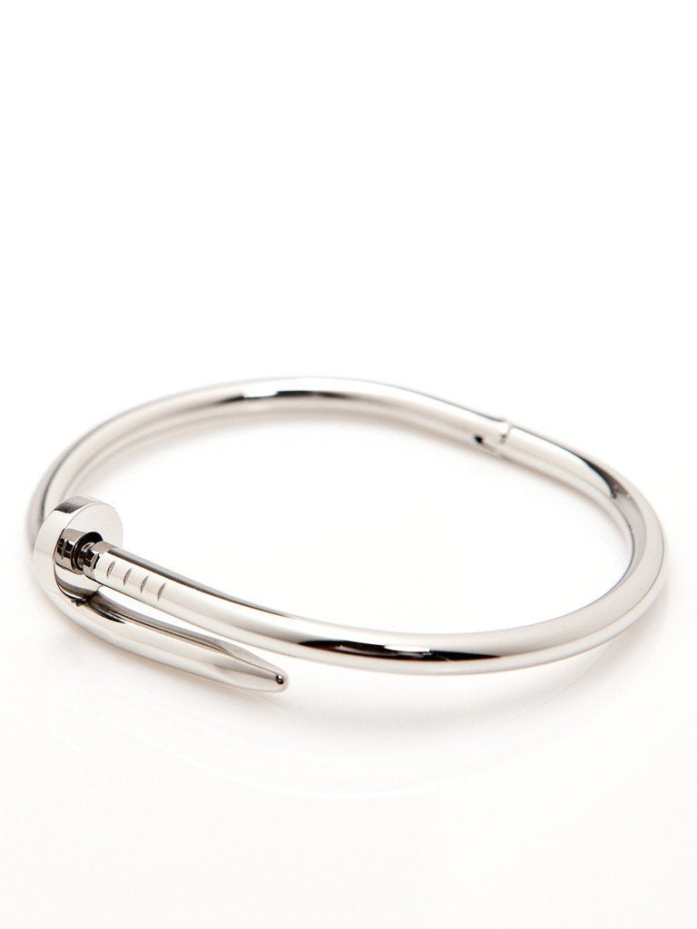 Twisted Nail Bangle - Silver