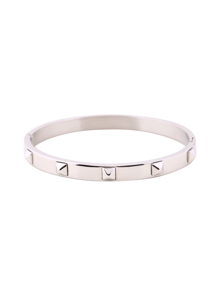 Metallic Stud Bangle - Silver