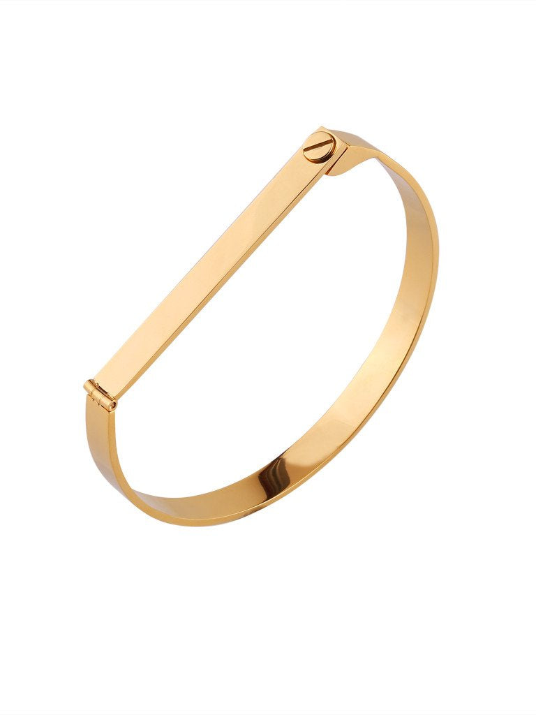 Screw Bar Bangle - Gold