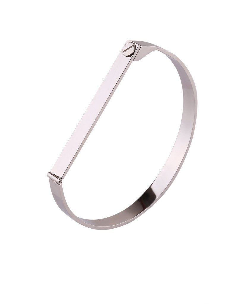 Screw Bar Bangle - Silver