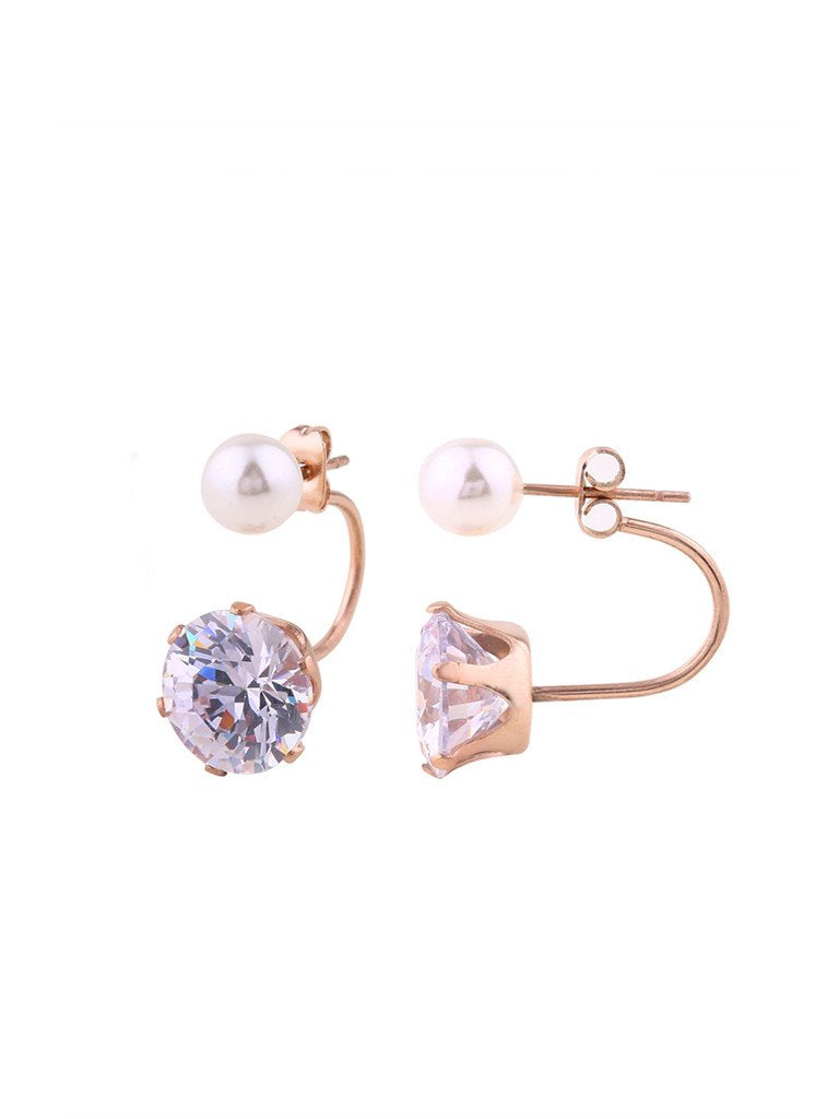 Audrey Swing Pearl Crystal Earrings - Rose Gold