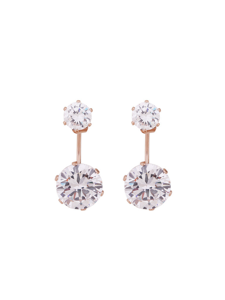 Luxe Double Crystal Earrings - Rose Gold