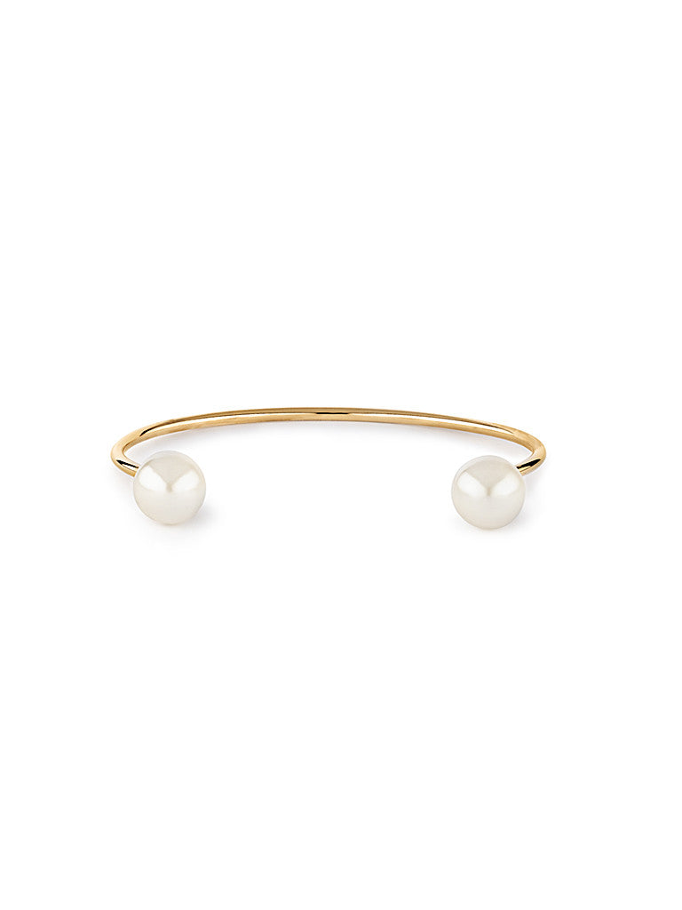 Open Pearl Bangle - Gold