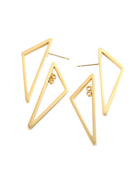 Floating Triangle Earrings - Gold