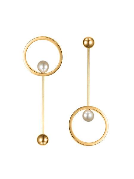 Pearl Pendulum Earrings - Gold