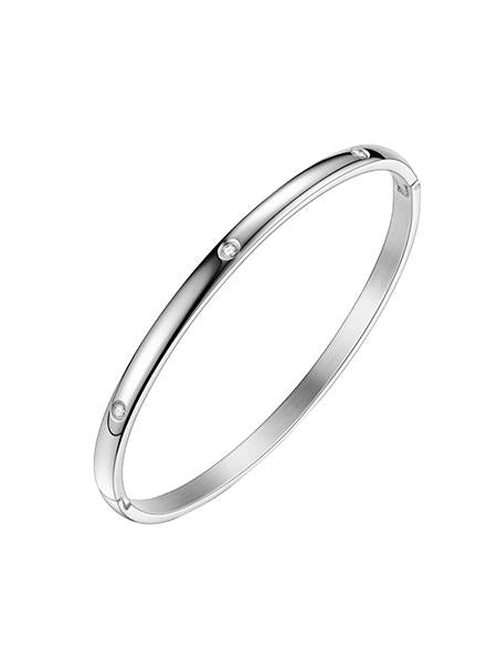 Modern Crystal Bangle - Silver