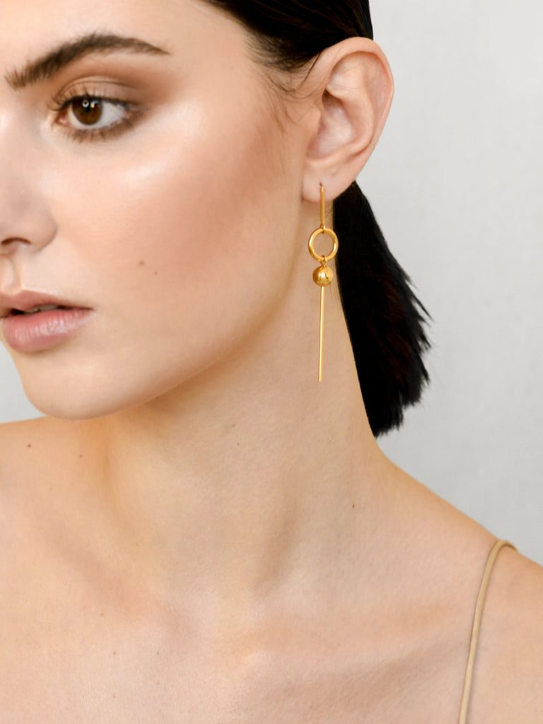 Warrior Drop Earrings - Gold