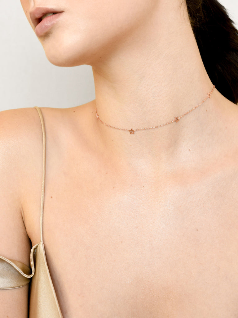 Dainty Star Choker - Rose Gold