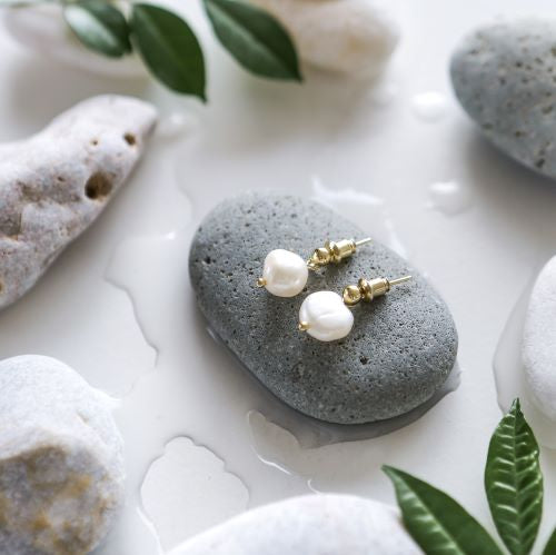 Dainty Pearl Pendant Earrings