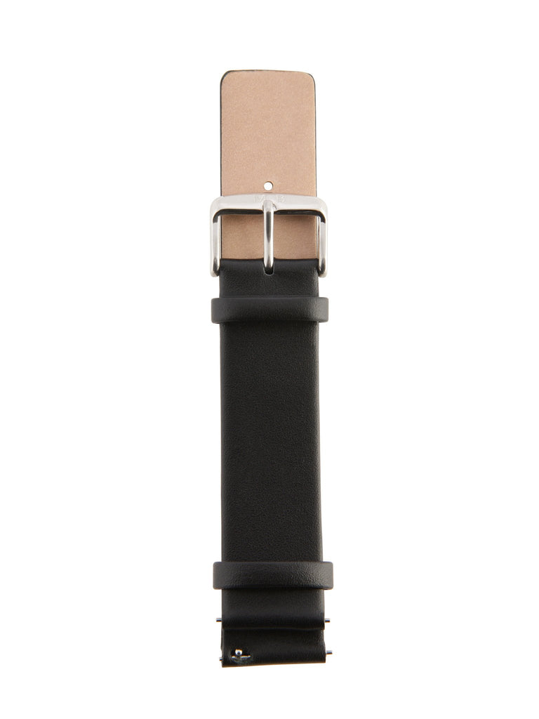 Black Leather Strap - Silver Buckle
