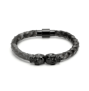Dragon Skin Double Skull Head Bracelets - More Styles Available