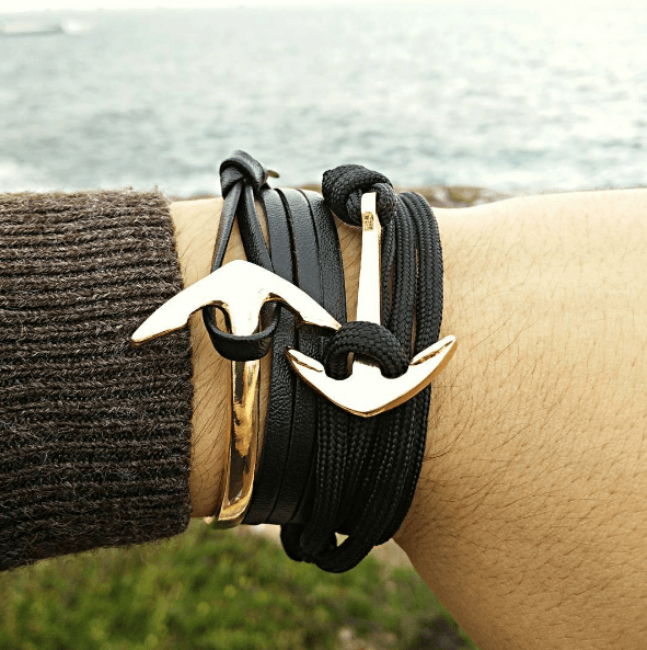 2 Pack: Wrap Around Gold Anchor/The Rigger Gold Anchor Bracelet Set - GuysDrawer.com - 1