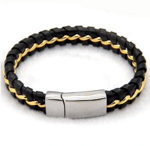 Solo Braided Leather Titanium Steel Bracelet - More Colours Available - GuysDrawer.com - 2