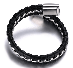 Solo Braided Leather Titanium Steel Bracelet - More Colours Available - GuysDrawer.com - 3