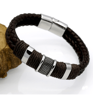 Braided Leather Handles Bracelets - - GuysDrawer.com - 3