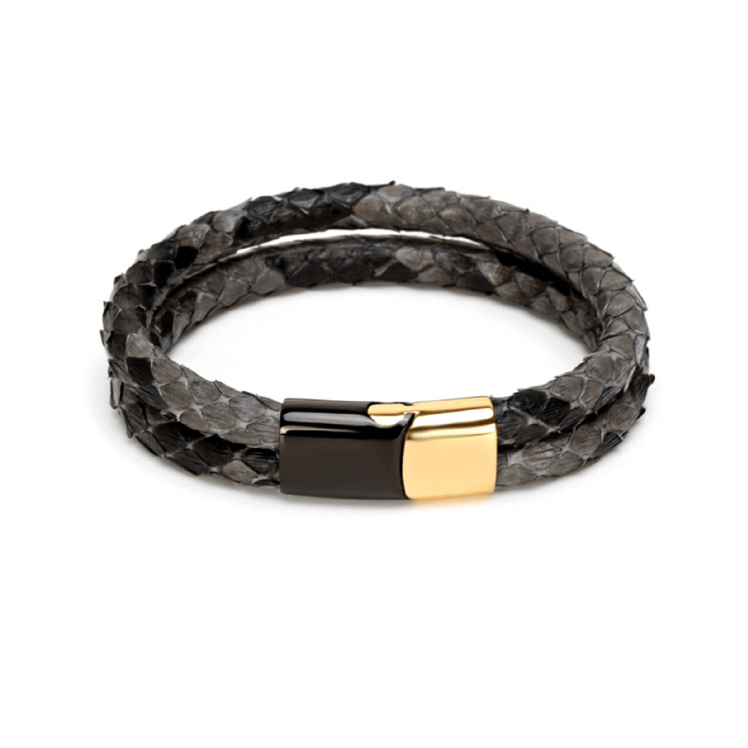 Dragon Skin Double Set Bracelets  Black & Gold Clasp- More Styles Available