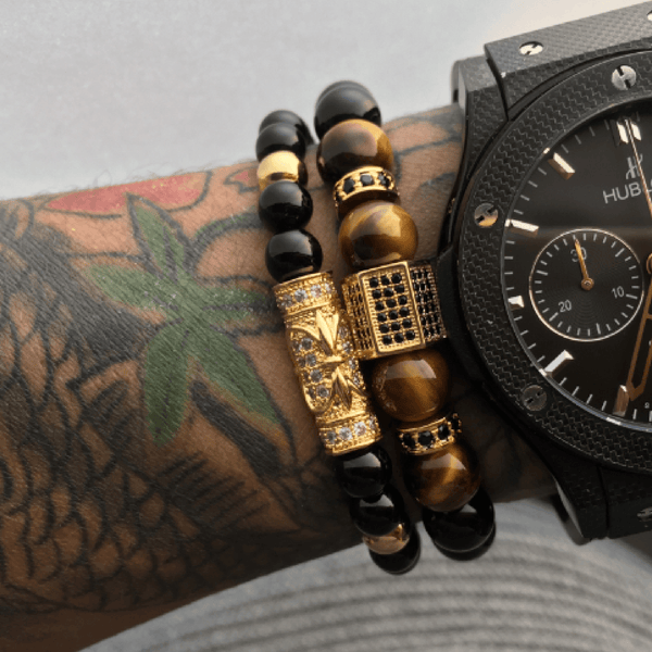 2 Pack: Onyx Hexagon/Far East Bracelets Combo