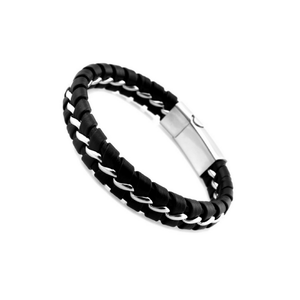 Solo Braided Leather Titanium Steel Bracelet - More Colours Available