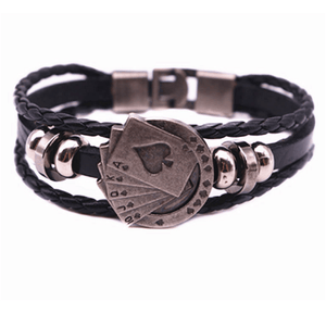 Royal Flush Leather Bracelet