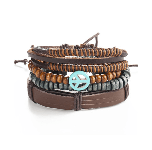 Leather and Braided Bracelet Sets - GuysDrawer.com - 1