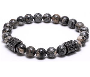2 Pack: Agate Stone Cylinder / Jasper Beads Black Set Workout Combo - GuysDrawer.com - 2