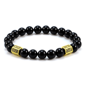 Black Onyx Cylinder Bracelets - More Colours Available - GuysDrawer.com - 2