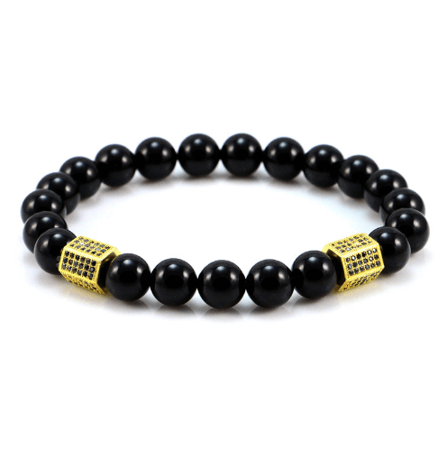 Black Onyx Cylinder Bracelets - More Colours Available - GuysDrawer.com - 1