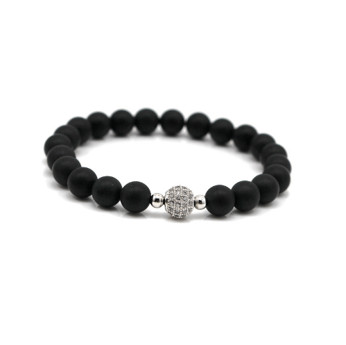 Black Agate Bracelets - More Styles Available - GuysDrawer.com - 2