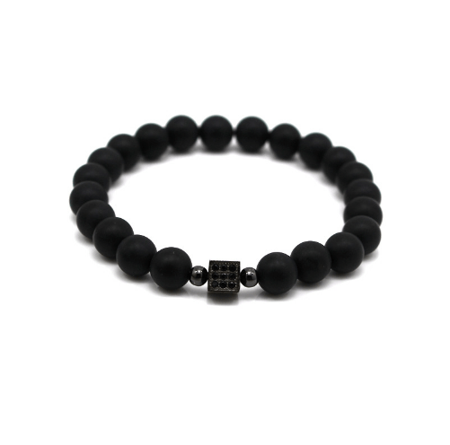 Black Agate Bracelets - More Styles Available - GuysDrawer.com - 1